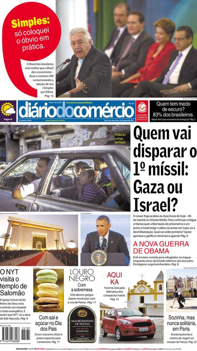 Um jornal nazista que, na cidade de São Paulo, onde residem, na mais santa paz, judeus e árabes, prega a guerra no deserto, o holocausto do povo espremido em Gaza