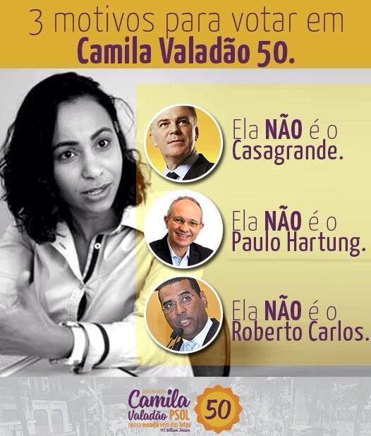 motivos para votar em Camila