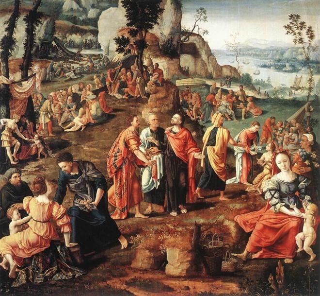 O milagre da multiplicação dos pães, por Lambert Lombard (Liège, 1505-1566)