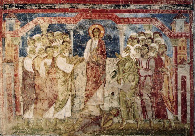 Exorcismo na sinagoga de Cafarnaum. Afresco do século XI na Abadia de Lambach, na Áustria.