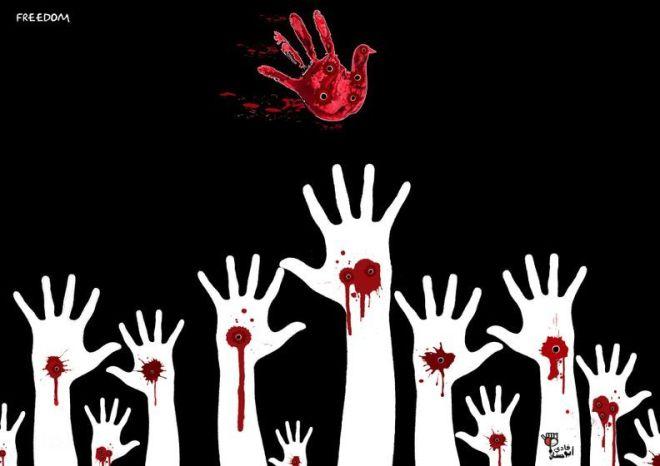 prisão liberdade mão bala jornalista Fadi Abou Hassan protesto