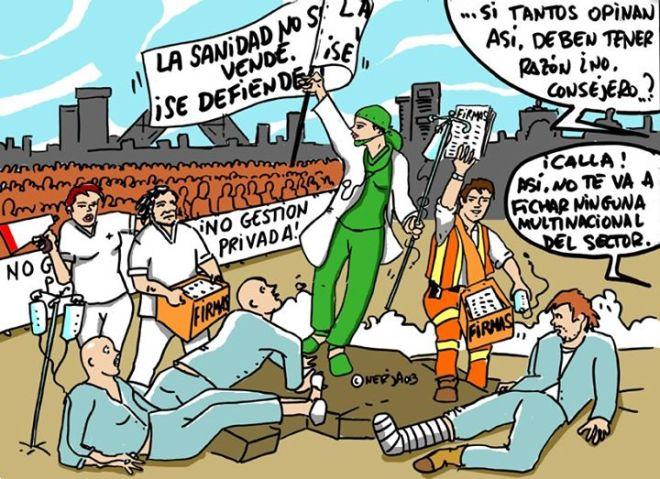 Na Espanha, médicos estão realizando marchas e greves contra a privatização da saúde