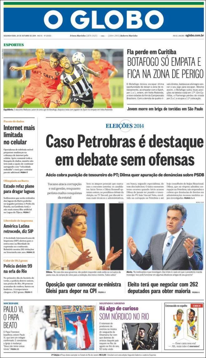 Caso da Petrobras vem sendo destaque das manchetes diárias de todos os jornais, desde que começou o segundo turno. O caso é que todo sabe qual caso. É um caso único que a justiça vaza, e a imprensa destaca
