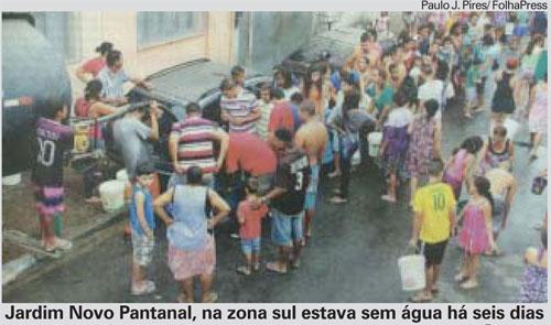 Jardim Novo Pantanal, na zona sul estava sem água há seis dias