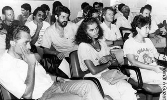 Marina Silva, ao lado de José Genoino, acompanha o julgamento do asssassinato de Chico Mendes, em Rio Branco. O líder seringueiro teve uma morte matada em 22 de dezembro de 1988