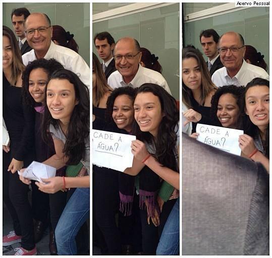 Troilando um candidato. Estudantes convidaram Alckmin para uma foto...