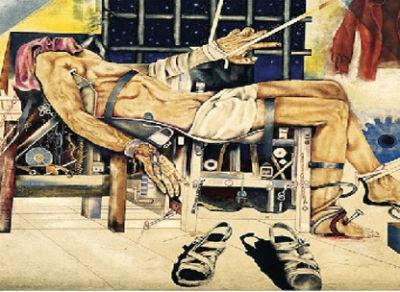 Herzog torturado. Desconheço a autoria deste excelente quadro que ilustra o cartaz do Prêmio Jornalístico Vladimir Herzog