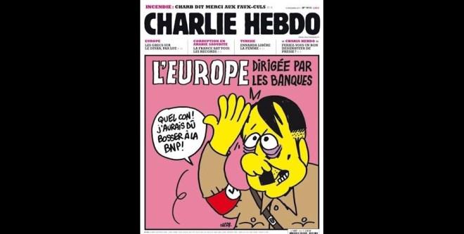 Crítica ao sistema bancário, em  2011, com a mensagem %22A Europa é governada pela banca%22 como título e Hitler a exclamar %22Que idiota, eu devia era trabalhar no BNP%22 (o BNP é um banco francês com sede em Paris, um dos maiores da Europa)