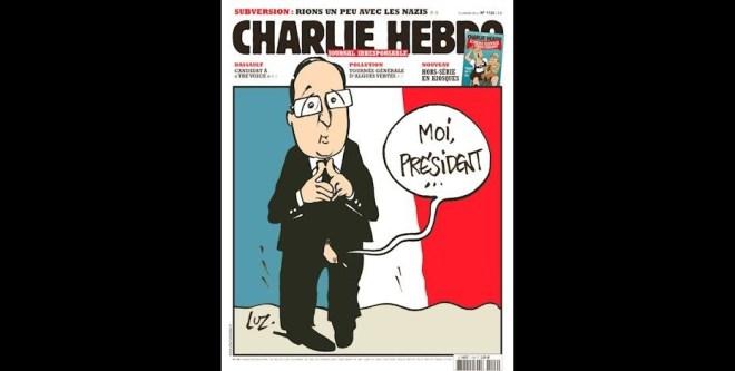 Quando se soube do escândalo sexual de François Hollande, que teria uma amante há vários anos, o jornal resolveu mostrar os genitais do líder do país