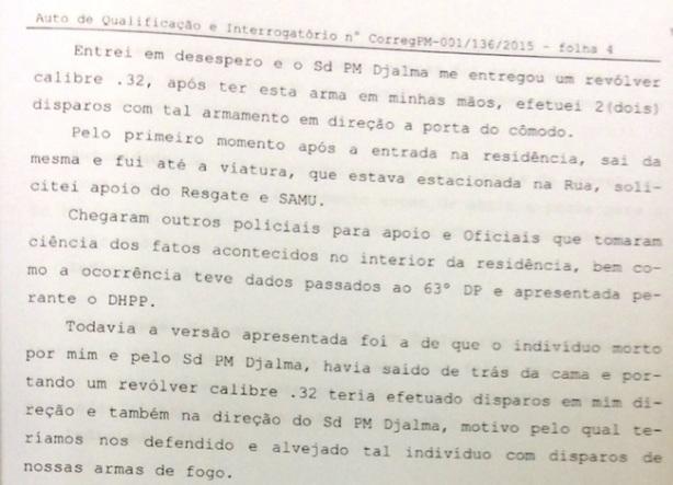 Segundo trecho de parte do depoimento no qual o sargento Akira, da PM de SP, confessa execução de pedreiro (Reprodução)