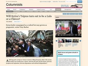 Texto do FT questiona se novo líder grego será como Lula ou Chávez (Foto- Reprodução: FT)