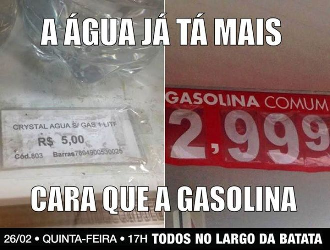 água mais cara gasolina