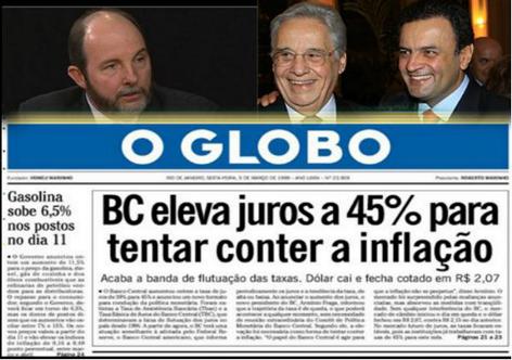 Manchete dos arrochados tempos de Fernando Henrique presidente e Armínio Fraga no Banco Central
