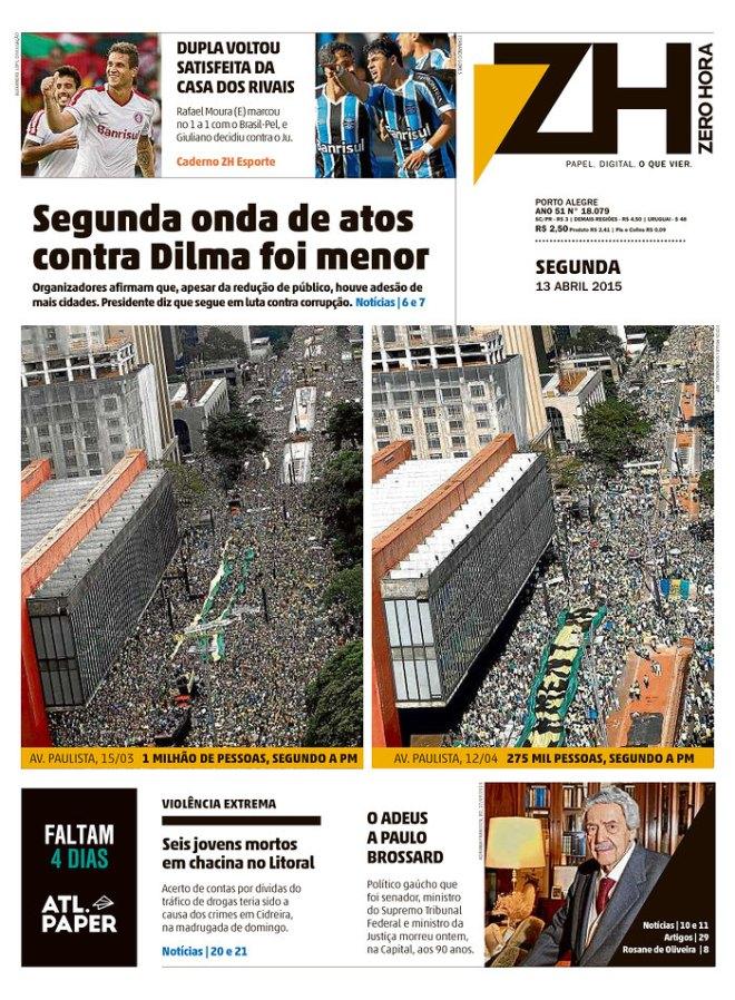 O Zero Hora de Porto Alegre parte para a comparação. E aumenta os 100 mil da Folha de S. Paulo para 250 mil