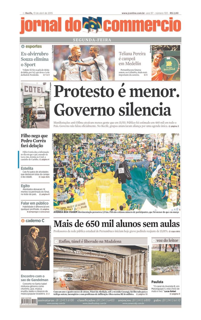 """O Jornal do Comércio do Recife informa que 450 mil protestaram nesta domingo 12 de abril, nas ruas de todas capitais.  E informa que, apenas nas escolas de pernambuco,  """"temos 650 mil alunos sem aulas"""". Teve jornais que noticiaram uma multidão de 100 mil na cidade de São Paulo"""