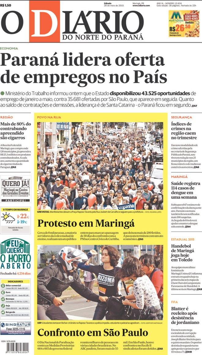 Protesto em Maringá. Polícia de Alckmin manda bala contra os trabalhadores em SP