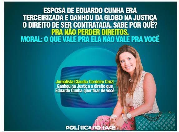 esposa Cunha tercerizacão terceirizado emprego