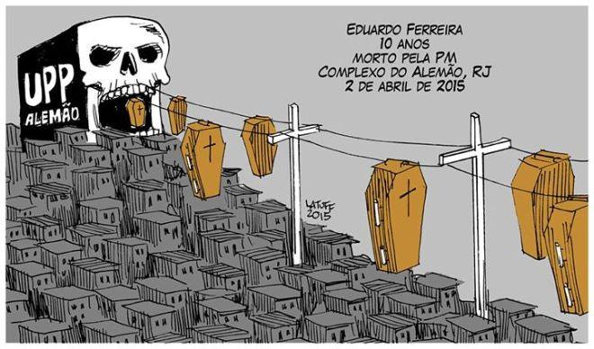 Carlos Latuff É cinismo demais falar em redução da maioridade penal num país onde criança de 10 anos leva tiro na cabeça de PM