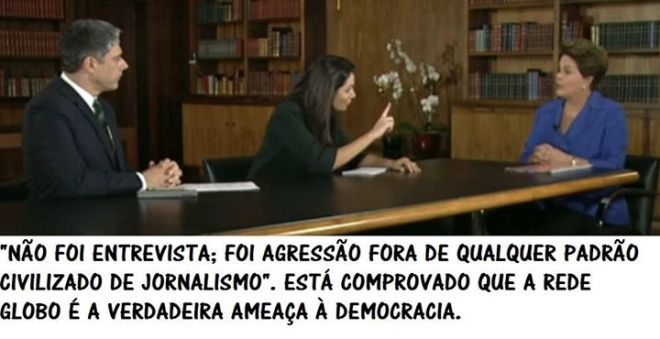 Dilma https://www.youtube.com/watch?v=E9mNsZV39vQ https://www.youtube.com/watch?v=4kdetDg4BTM https://www.youtube.com/watch?v=CrycFy4KdEs Patrícia Poeta dedo em riste