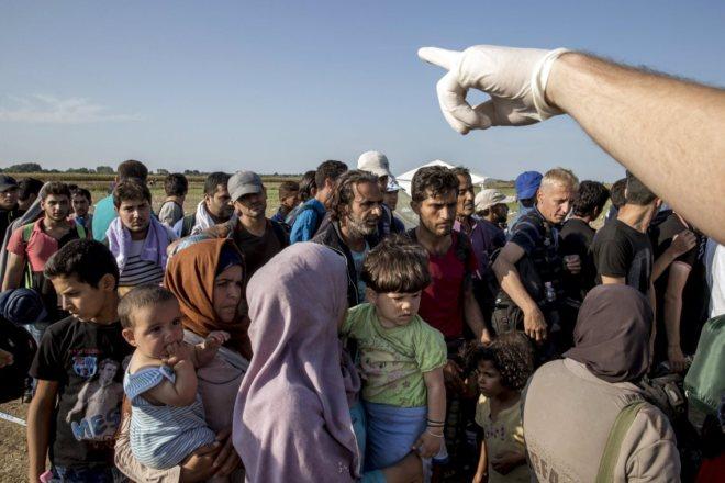 Polícia húngara encaminha os refugiados para autocarros que os levarão até à fronteira. O detalhe racista da mão com uma luva. MARKO DJURICA/ REUTERS