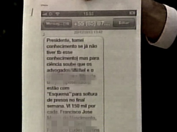 Mensagem no celular do desembargador Luiz Gerardo de Pontes Brígido sobre a venda de habeas corpus nos plantões por 150 mil reais
