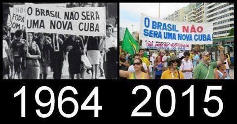 Cartaz de marcha brasileira de direitistas tucanos pedindo o criminoso retorno da ditadura