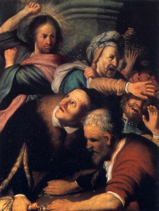 Jesus expulsando os vendilhões. 1626. Por Rembrandt