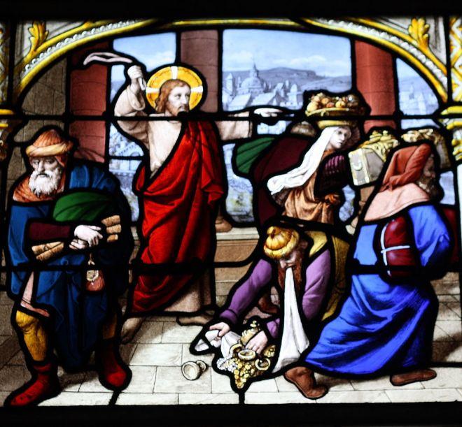 Jesus expulsando os vendilhões. Vitral na Igreja de Saint-Aignan de Chartres, em Chartres, na França