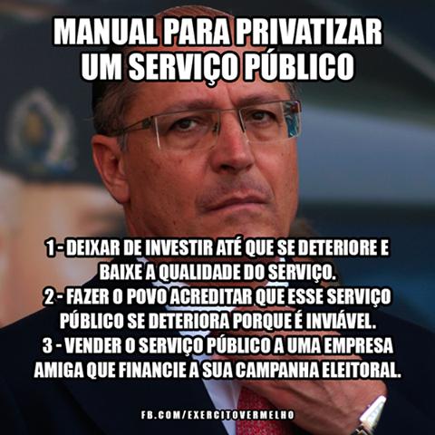 Alckmin privatizou a Sabesp. Vendeu ações na bolsa de Nova Iorque